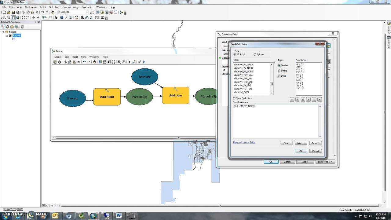 ArcGIS/QGIS Intro to Model Builder Exercise 2 join and calculate field