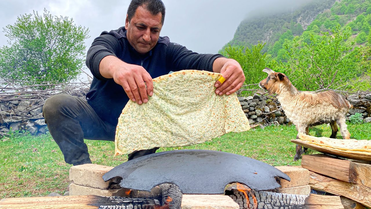 Delicious Kutab with Greens, cooked on a Campfire in the Village with my Friend Mickey!