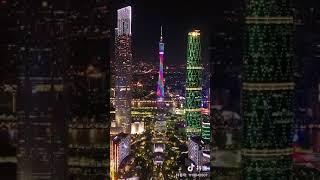 Guangzhou Night Drone View