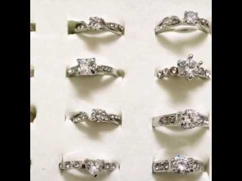 Silver plated American diamond Rings.