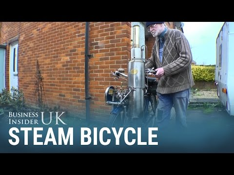A UK pensioner built his own steam-powered bike