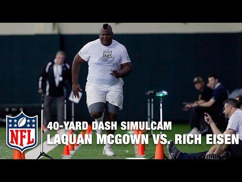 405-Pound Tight End LaQuan McGowan vs. Rich Eisen in 40-Yard Dash Simulcam Race | NFL