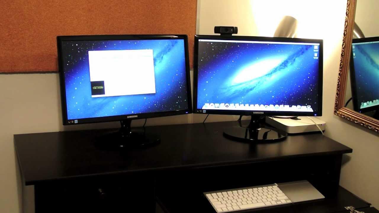 Dual Monitor Setup with Apple Mac Mini and 2 Samsung