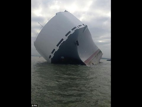 Hoegh Osaka Singapore cargo ship that carries 1,400 luxury cars that ran aground in shallow waters