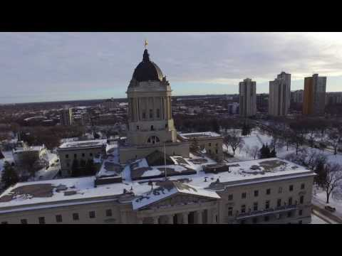 Drone Footage Winnipeg Legislative Building (Winter)