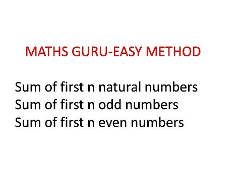SUM OF FIRST N NATURAL NUMBERS,ODD NUMBERS,EVEN NUMBERS(EASY METHOD)