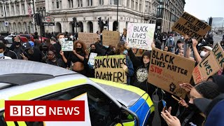 Crowds gathered in cities around the uk for anti-racism protests triggered by death of george lloyd us.in london, missiles were thrown and a polic...