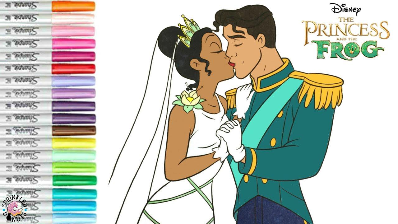 Disney Princess Coloring Book Page Tiana and Naveen Wedding Day Kiss The  Princess and the Frog