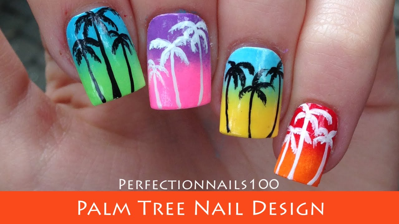 Nail Design Palm Trees Freehand Nail Art Tutorial - YouTube