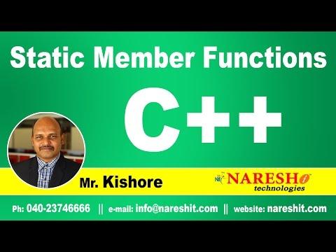 Static Member Functions | C++ Tutorial | Mr. Kishore