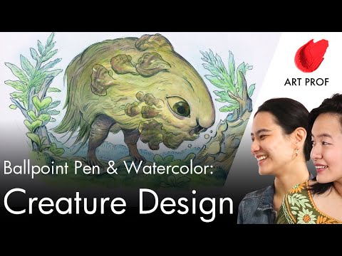 How to Draw a Creature Design with Ballpoint Pen, Watercolor, and Colored Pencil