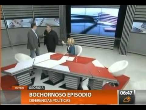 Golpes en TV de Georgia durante programa político