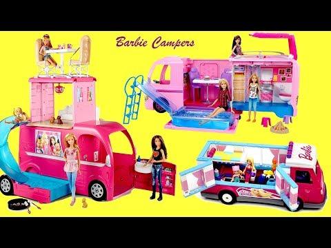 Barbie Pop Out Camper Pop Up camper Lux Camper  3 Barbie Dolls Campers Unboxing Play