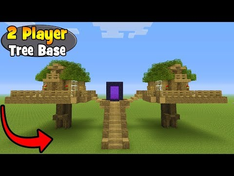 Minecraft Tutorial: How To Make A 2 Player Survival Tree Base (Survival Base)