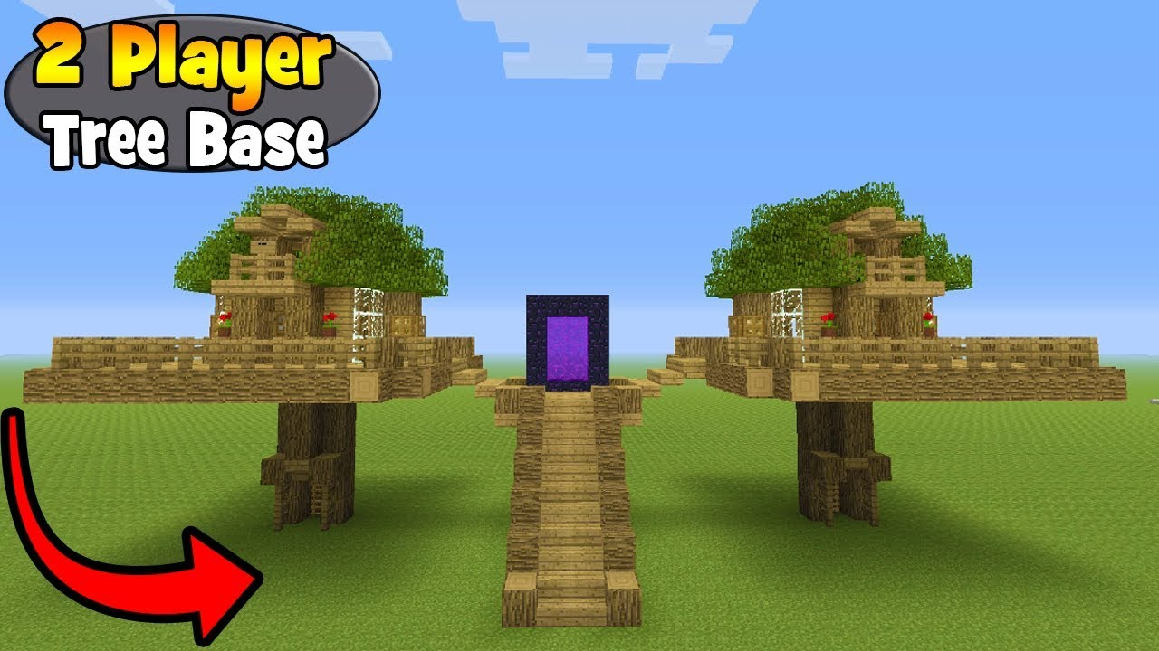 Minecraft Tutorial How To Make A 2 Player Survival Tree Base Survival Base Youtube
