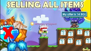 SELLING MY ALL ITEMS FOR BUYING DREAM WORLD!! (BGL LOCKED) | GrowTopia