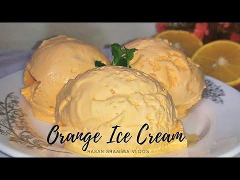 Orange Ice Cream Recipe | Without ice cream machine | Basics with Hasan Shamima Vlogs