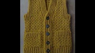 Жилет с карманами  Часть 2 Правая полочка. Vest knitting part 2