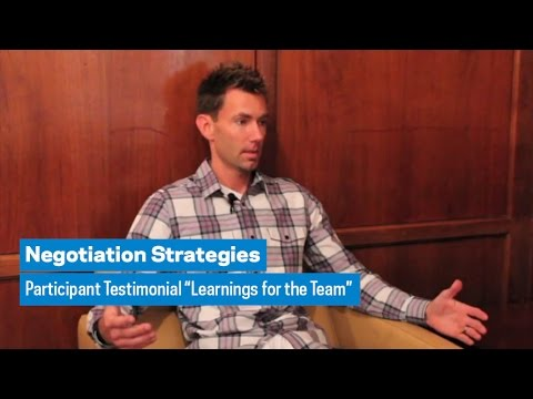 "Negotiation Strategies: Participant Testimonial ""Learnings for the Team"""