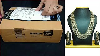 Unboxing of Bridal kundan necklace set at very cheap price
