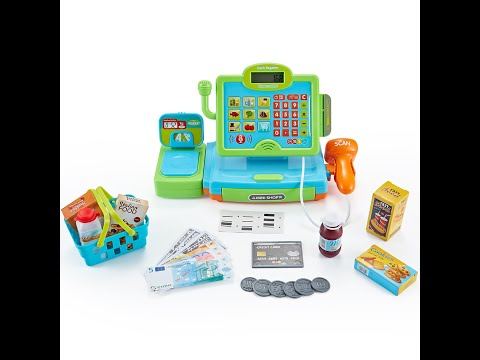 Pretend Play Toy Shopping Cash Register Set with Scales, Scanner, Money, Food and Shopping Basket