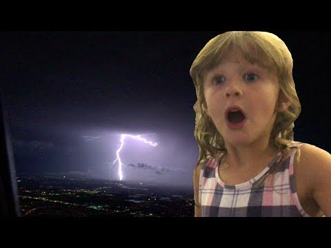 Kids on a Plane in a Crazy Bad Lightning Storm in Florida   The Disney Toy Collector