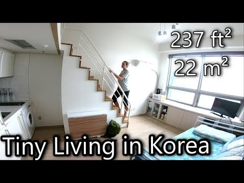 Tiny Compact Living in Seoul Korea - 237 Square Foot Loft Ap