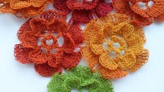 Цветочная шаль крючком - floral crochet shawl (Шаль #19)