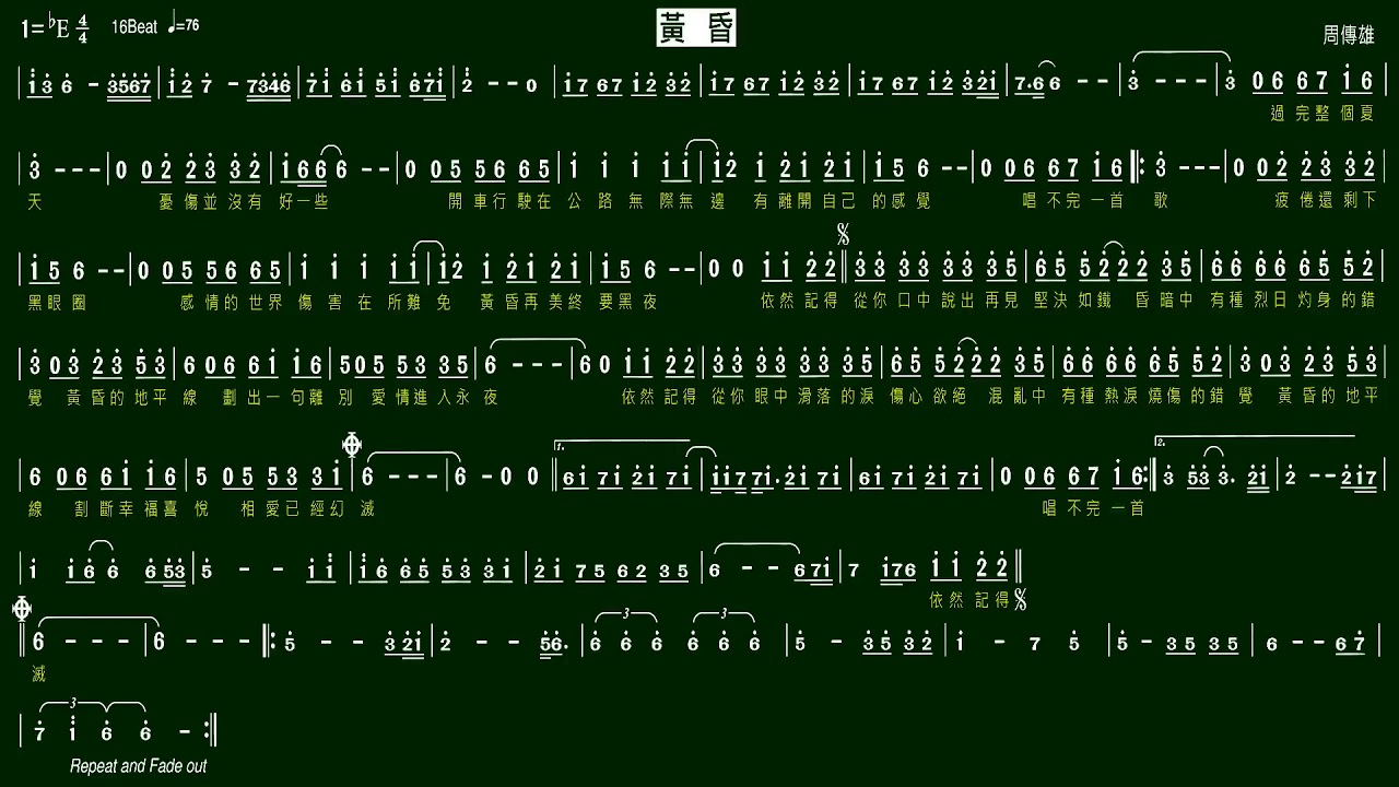 2.黃昏(Eb)-周傳雄-施滄智老師 薩克斯風教學(簡譜)