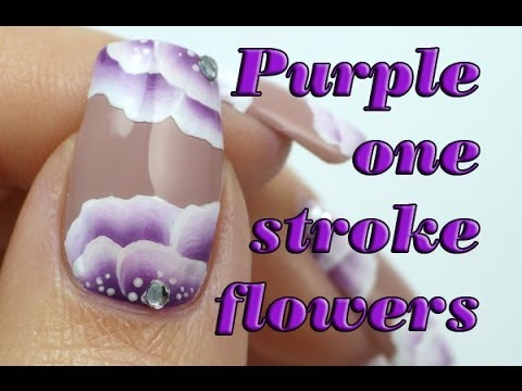Romantic One Stroke Floral Nails - Purple Nail Art Flower Manicure Tutorial | Lucy's Stash