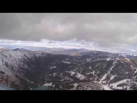 Winter flight to South Lake Tahoe airport