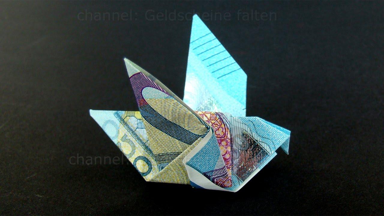 geldschein falten taube einfachen origami vogel mit g doovi. Black Bedroom Furniture Sets. Home Design Ideas