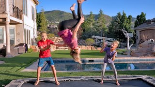 Teaching our Mom to do a Backflip! She Can't Say NO!