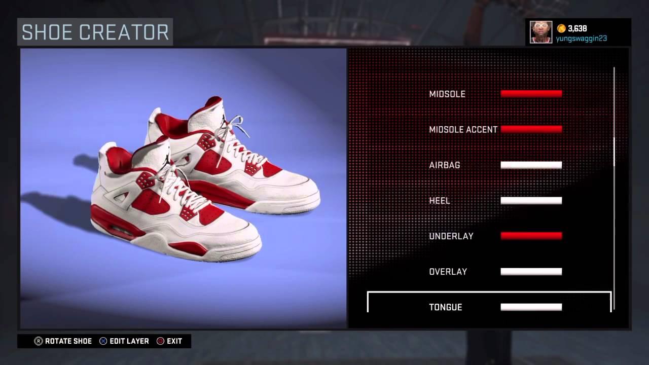 bfe1d351bfa13e Nba 2k16 Shoe Creator Air Jordan 4 Alternate  89 - YouTube
