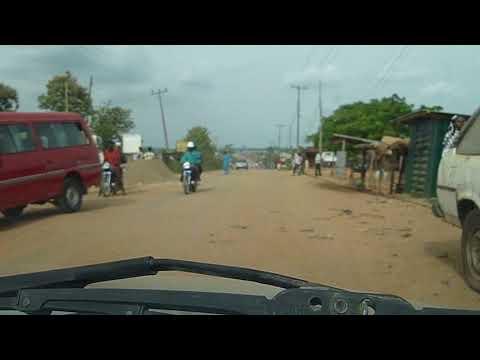 Driving through a street in Ore, Ondo state, Nigeria.