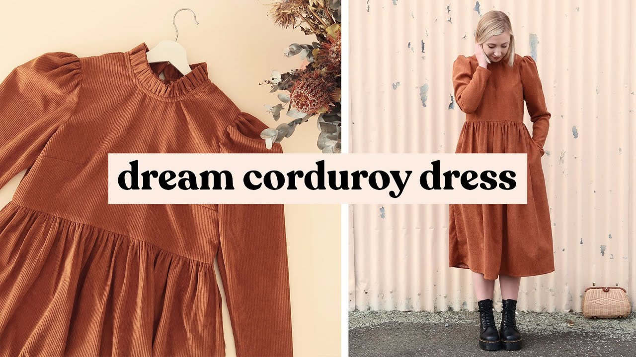 Making My Dream Corduroy Dress (With Ruffled Collar)   Making Outfits From Instagram