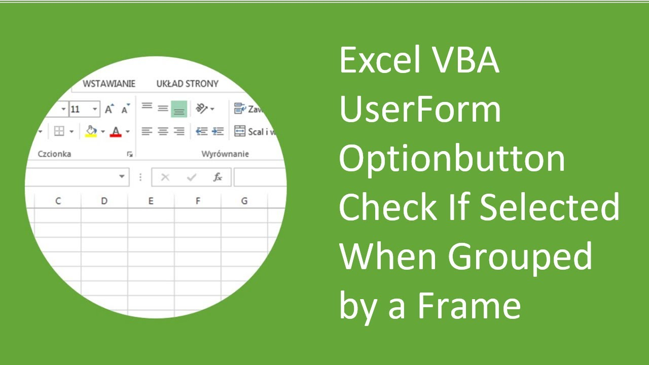 Excel Vba Userform Optionbutton Check If Selected When