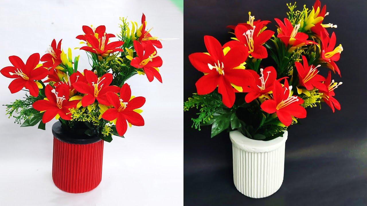 DIY flower vase    handmade flower vase    raj easy craft     modern design flower vase