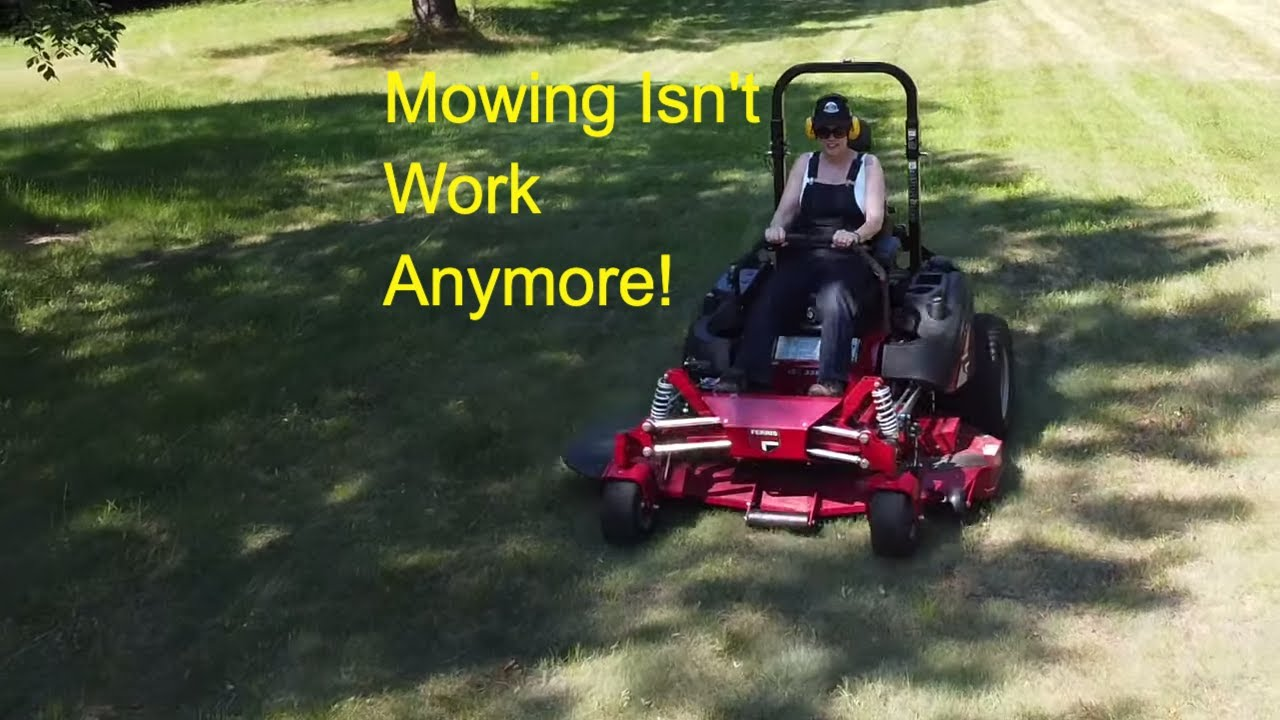 #298 FERRIS ISX3300 Zero Turn mower. My Wife Got The Key! Mowing Grass. outdoor channel.