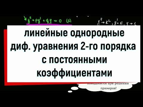 15. Линейные однородные дифференциальные уравнения второго порядка с постоянными коэффициентами