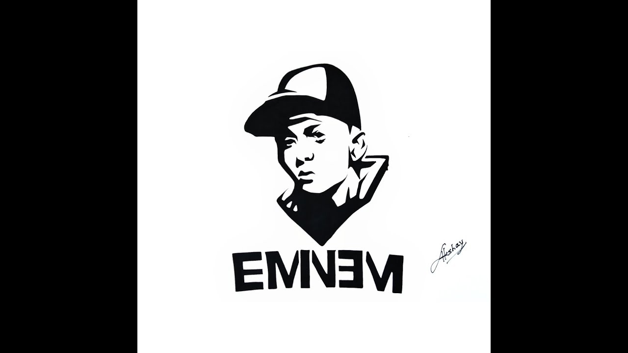 60adbbce339eb How to draw Eminem - Stencil Art - Art Maker Akshay - YouTube