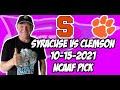Syracuse vs Clemson 10/15/21 Free College Football Picks and Predictions Week 7 2021