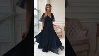 G 2316 Платье вечернее с россыпью жемчуга на рукавах video