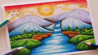 วาดรูปธรรมชาติ น้ำตกสวยๆ สีไม้ || How to Draw Waterfall with color Pencil / Drawing Landscape