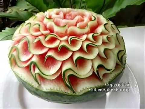 แกะสลักแตงโมลายเอสเดี่ยวติดเปลือก แบบที่7,Watermelon Carving Patterns7