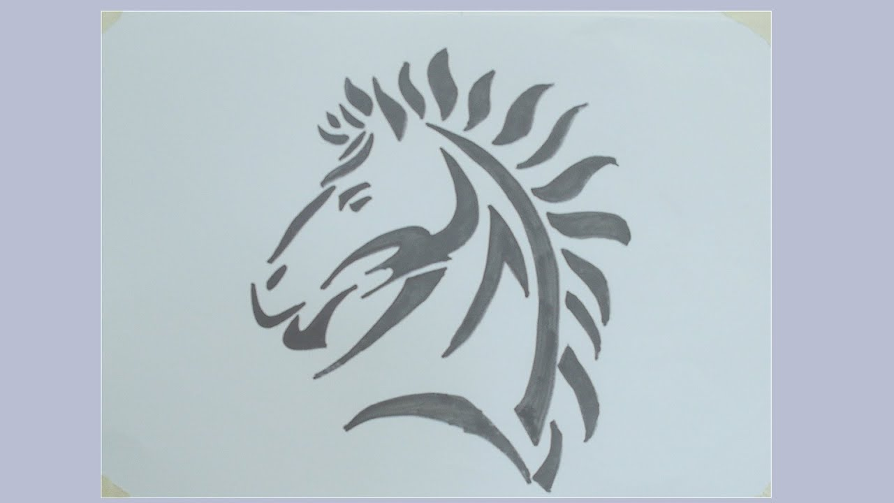 How To Draw Horse Tribal Tattoo#1
