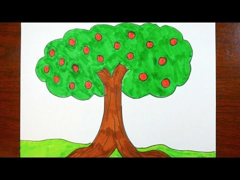 Drawing an apple tree coloring page for kids