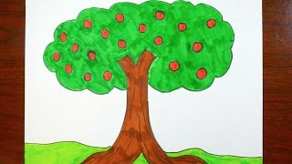 Drawing An Apple Tree | Coloring Page For Kids