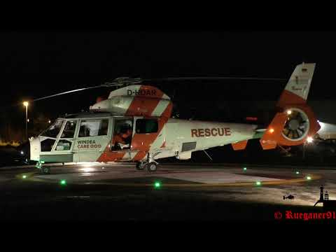 [HD] Christoph 47 und NHC02 offshore rescue evening  helicopter landing & Takeoff