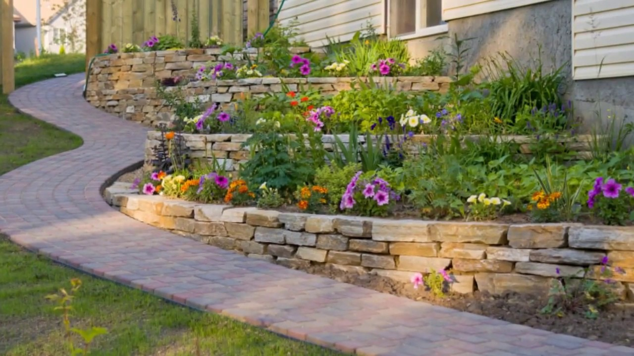 Garden and Backyard Retaining Wall Ideas and Terraced ... on Patio Stone Wall Ideas id=51761